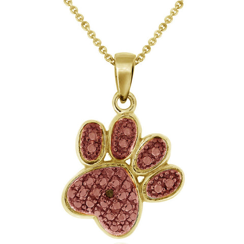 Diamond Accented Sterling Silver Paw Pendant - 18k Gold / Rose Gold