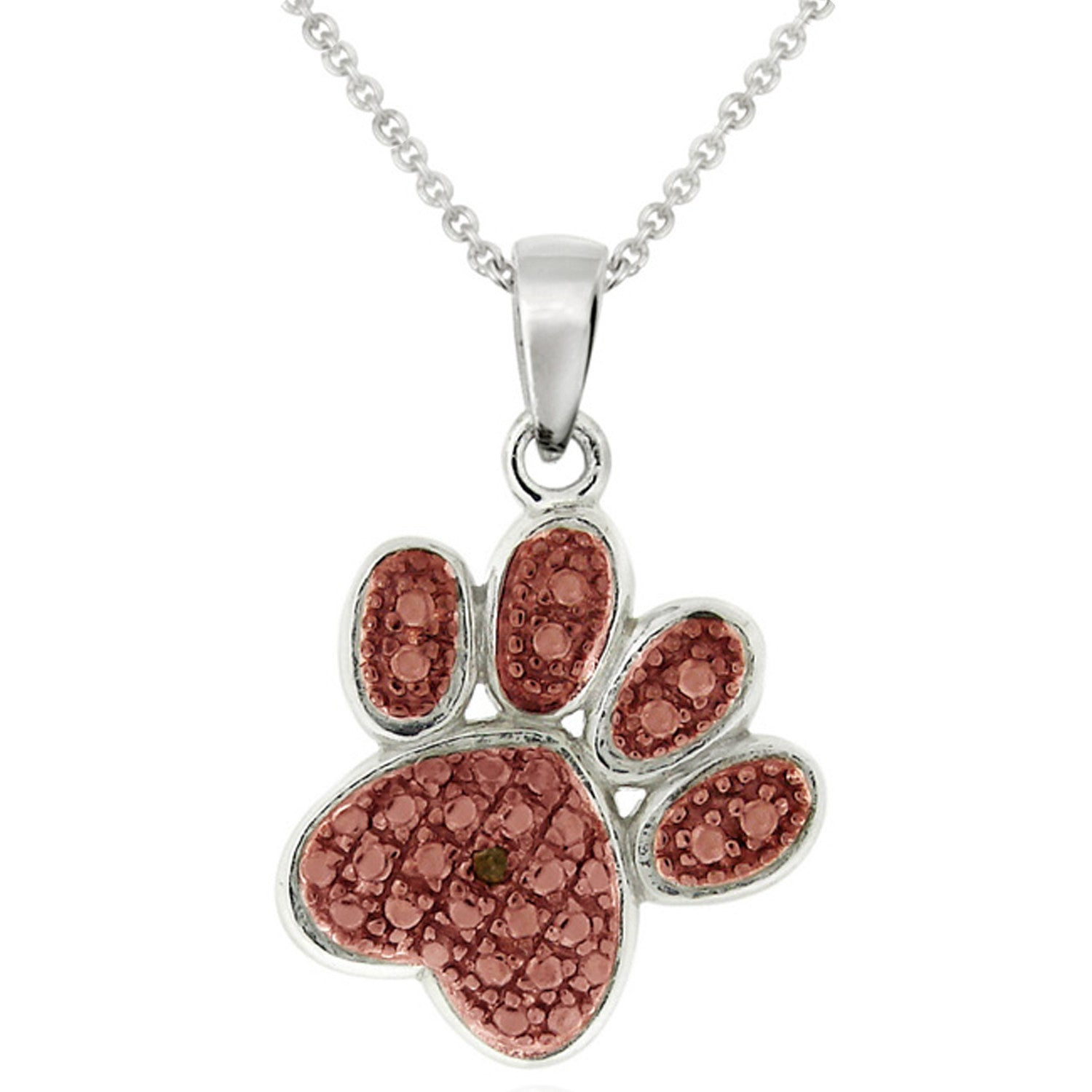 Diamond Accented Sterling Silver Paw Pendant - Rose Gold / Silver