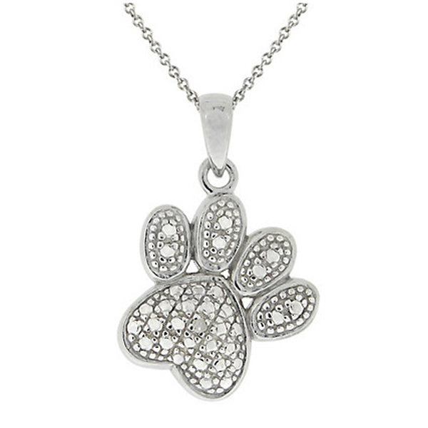 Diamond Accented Sterling Silver Paw Pendant - Sterling Silver