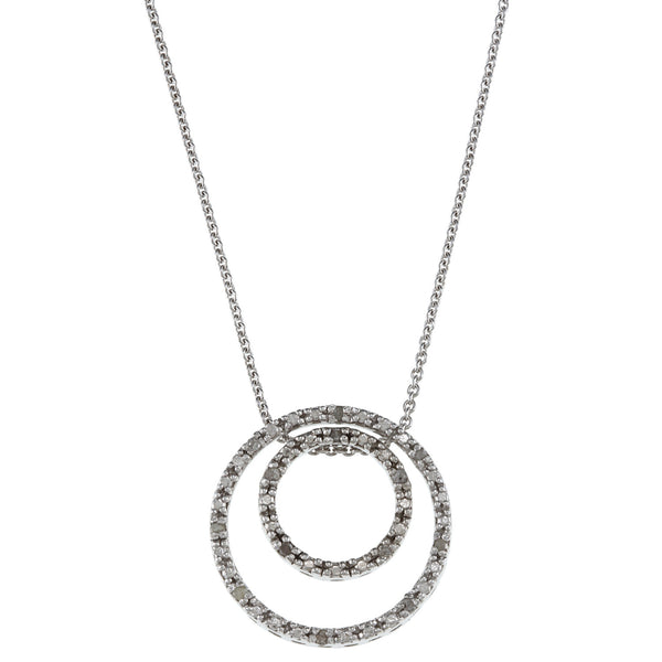 1/8 Carat Diamond Sterling Silver Double Circle Necklace