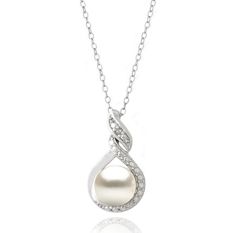 Sterling Silver Swirl Necklace With Freshwater Pearl & Diamond Accents