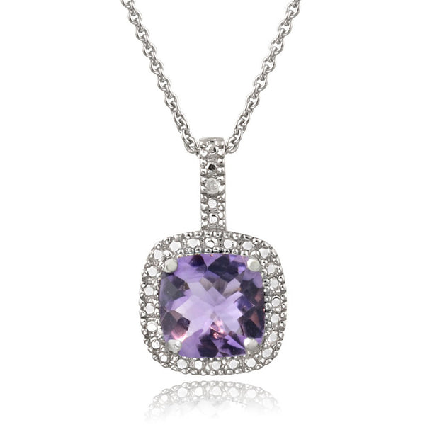 Square Necklace With Gemstone & Diamond Accents in Sterling Silver - Amethyst