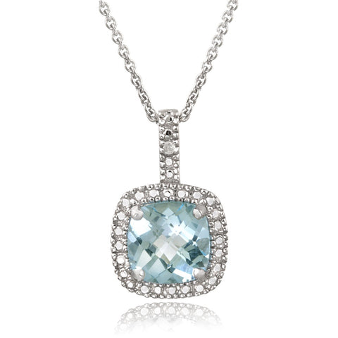 Square Necklace With Gemstone & Diamond Accents in Sterling Silver - Blue Topaz