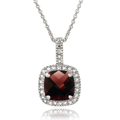 Square Necklace With Gemstone & Diamond Accents in Sterling Silver - Garnet