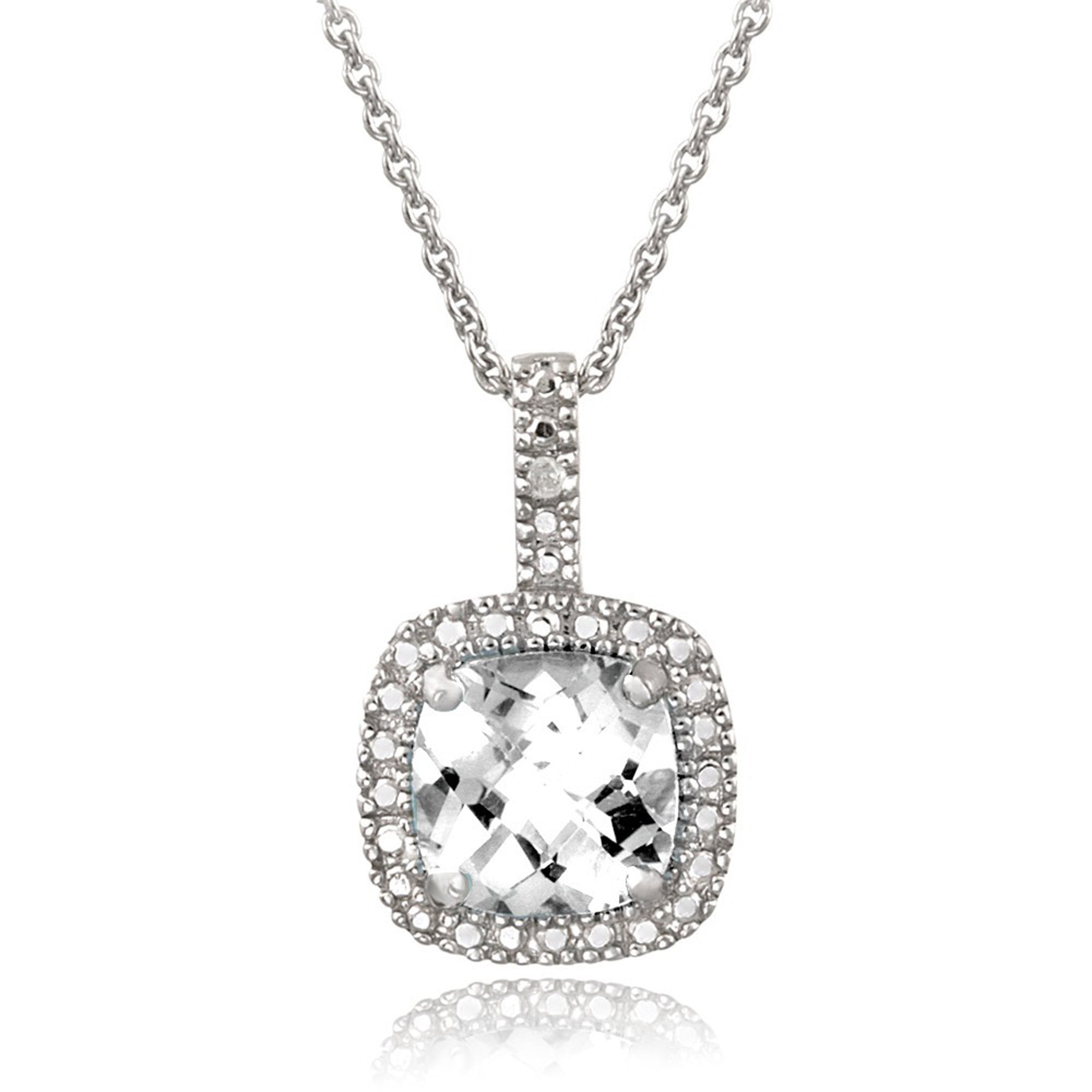 Square Necklace With Gemstone & Diamond Accents in Sterling Silver - White Topaz