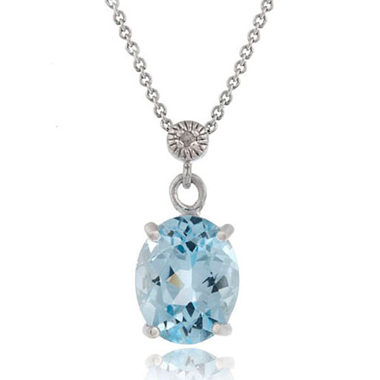 Gemstone & Diamond Accent Necklace in Sterling Silver - Blue Topaz