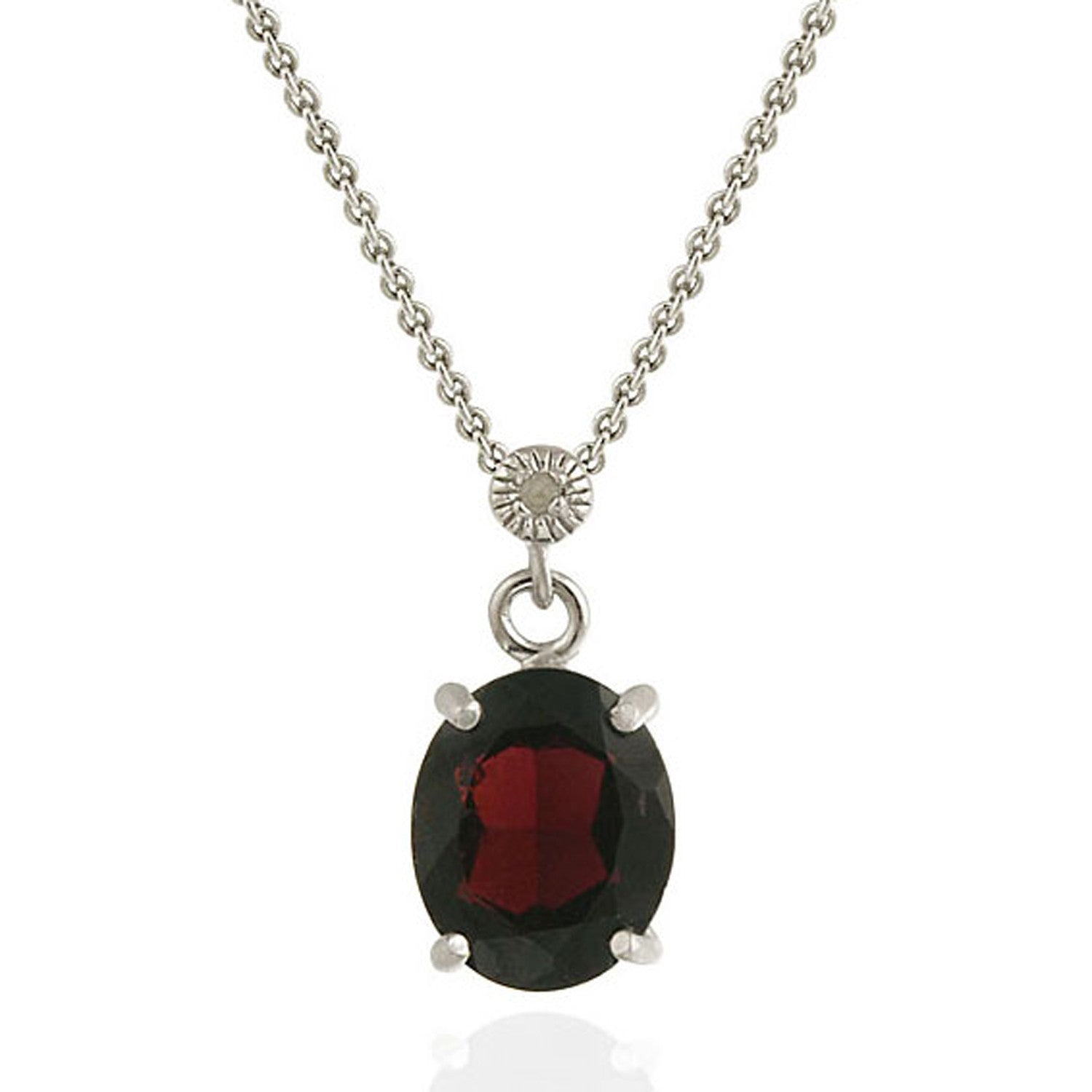 Gemstone & Diamond Accent Necklace in Sterling Silver - Garnet
