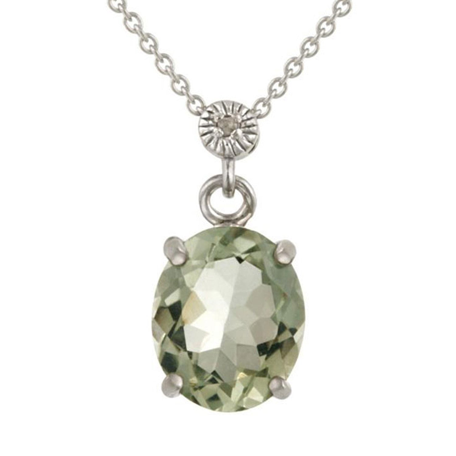 Gemstone & Diamond Accent Necklace in Sterling Silver - Green Amethyst