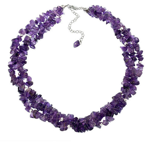 Multi Strand Gemstone Chip Sterling Silver Necklace - Amethyst