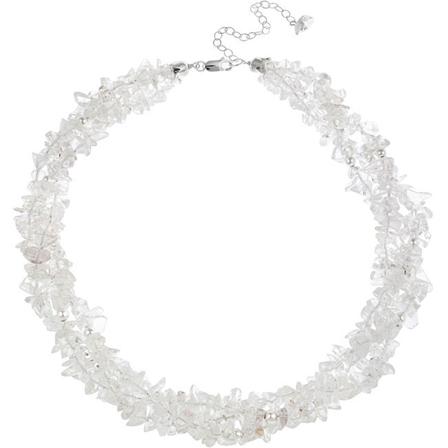 Multi Strand Gemstone Chip Sterling Silver Necklace - Clear Crystal