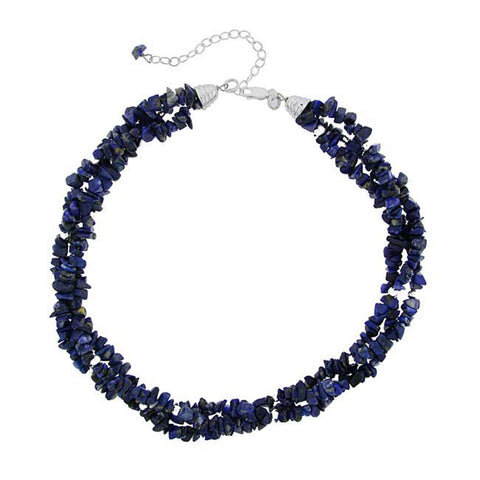 Multi Strand Gemstone Chip Sterling Silver Necklace - Lapis