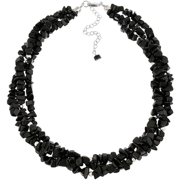 Multi Strand Gemstone Chip Sterling Silver Necklace - Onyx