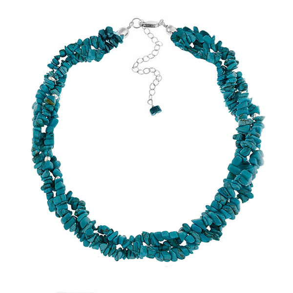Multi Strand Gemstone Chip Sterling Silver Necklace - Turquoise