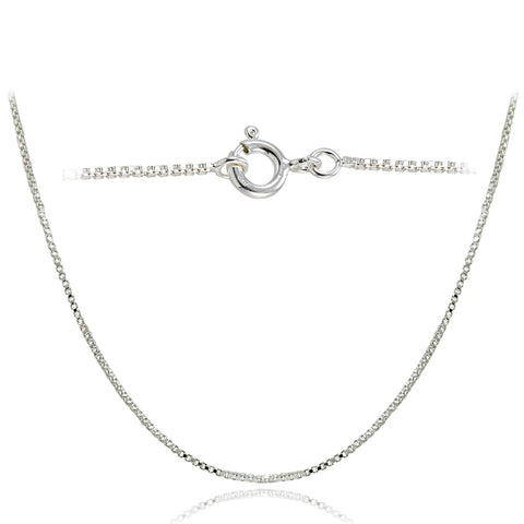 Sterling Silver Italian Box Chain Necklace - 18 Inches