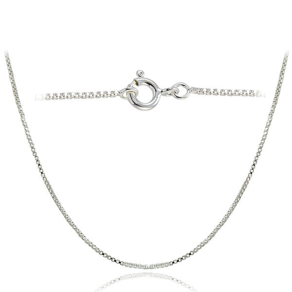 Sterling Silver Italian Box Chain Necklace - 24 Inches
