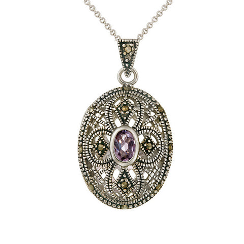 Marcasite & Amthyst Sterling Silver Oval Pendant