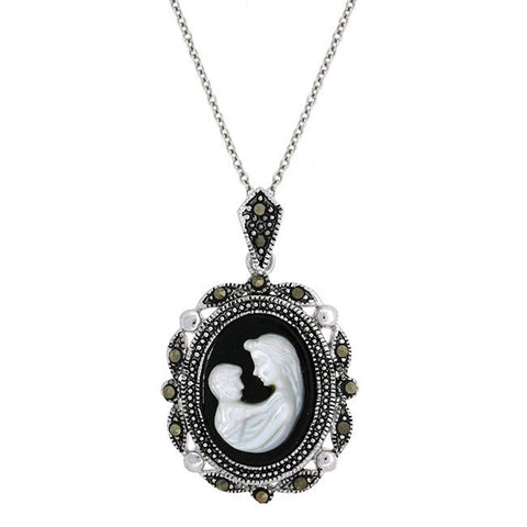 Sterling Silver Mother & Child Marcasite Cameo Necklace