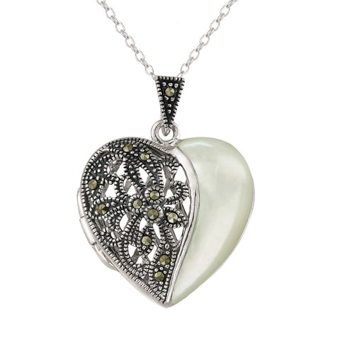Marcasite & Sterling Silver Heart Locket Necklace - Mother of Pearl