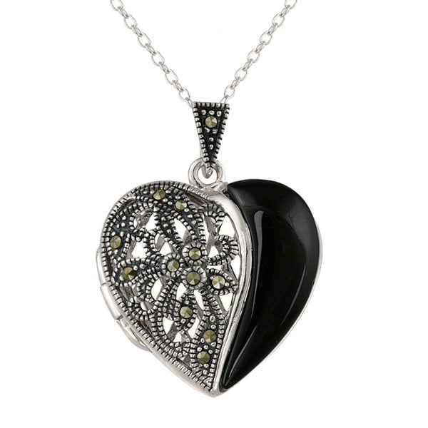 Marcasite & Sterling Silver Heart Locket Necklace - Onyx