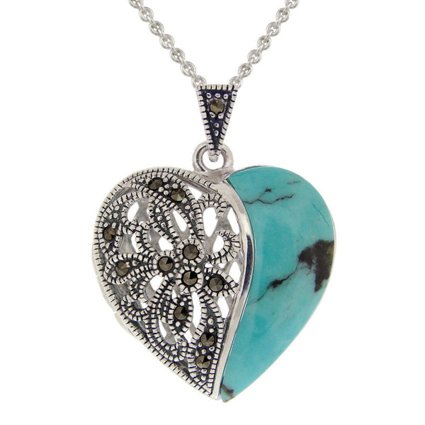 Marcasite & Sterling Silver Heart Locket Necklace - Turquoise