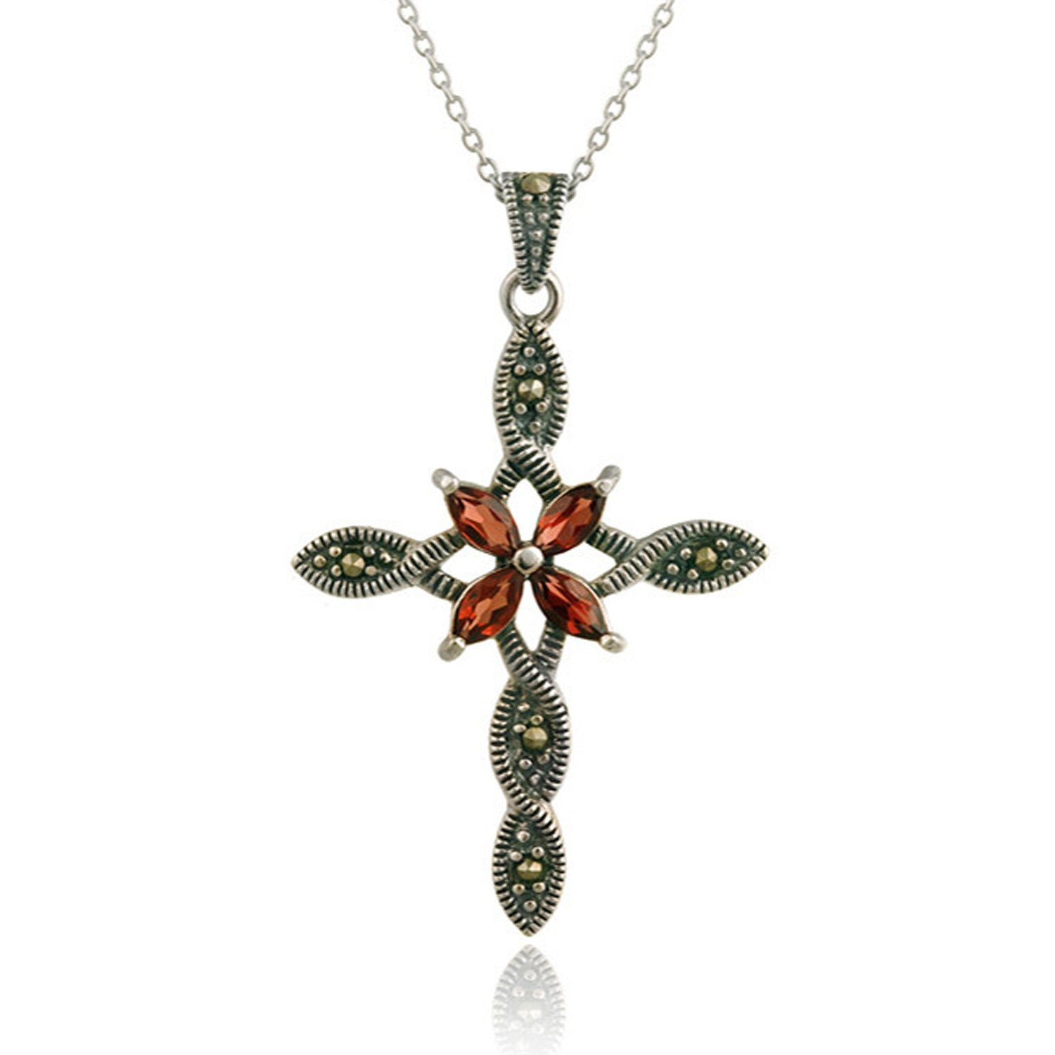Marcasite & Garnet Cross Pendant in Sterling Silver