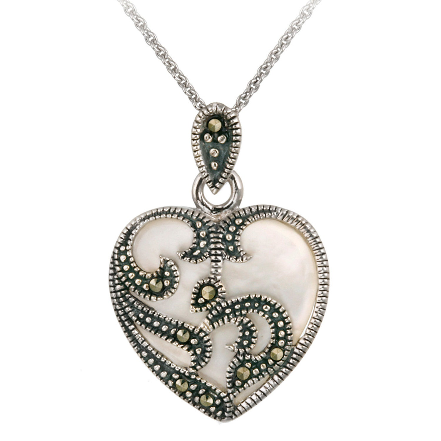 Marcasite & Gemstone Heart Sterling Silver Necklace - Mother Of Pearl
