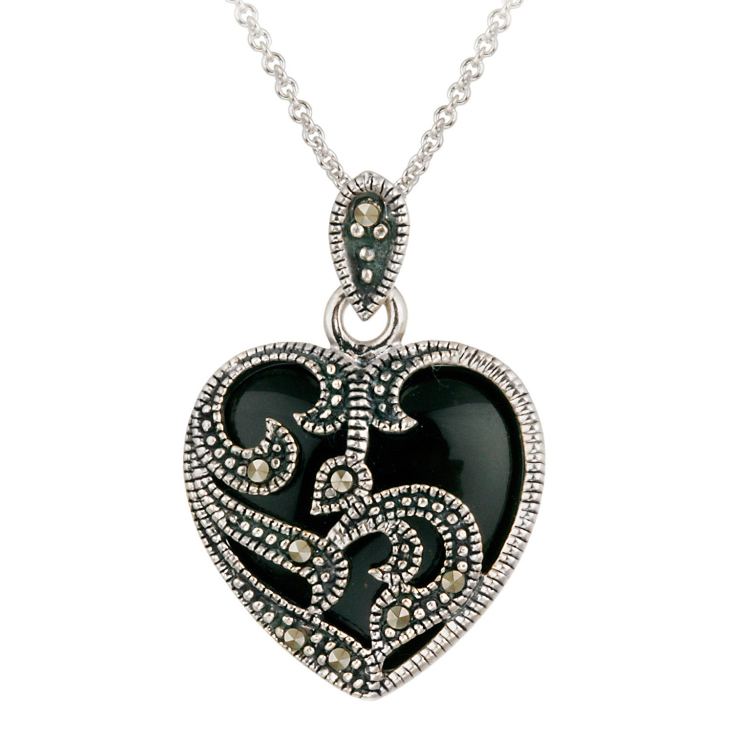 Marcasite & Gemstone Heart Sterling Silver Necklace - Onyx