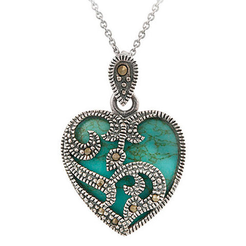 Marcasite & Gemstone Heart Sterling Silver Necklace - Turquoise