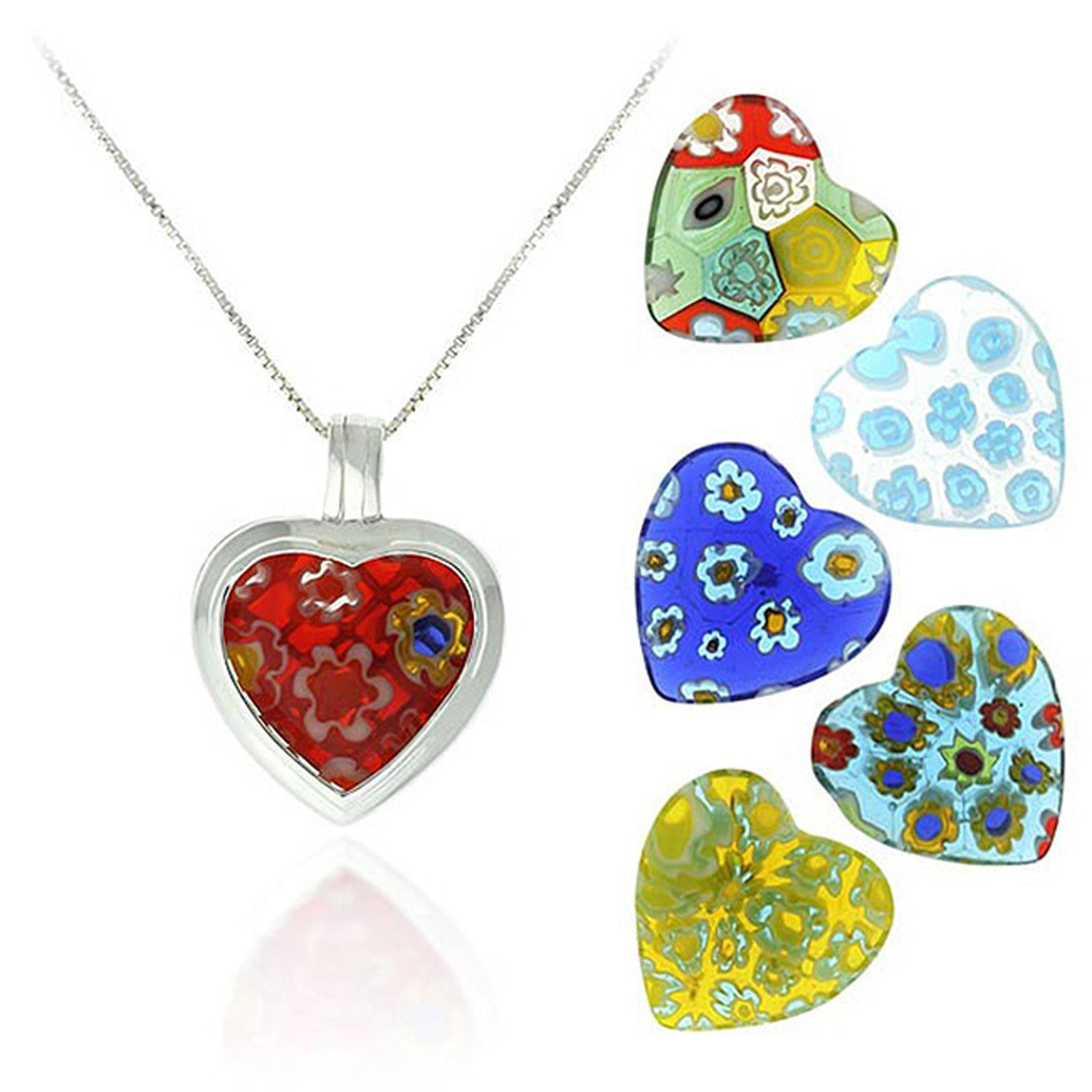 Sterling Silver Interchangeable Murano Glass Heart Pendant