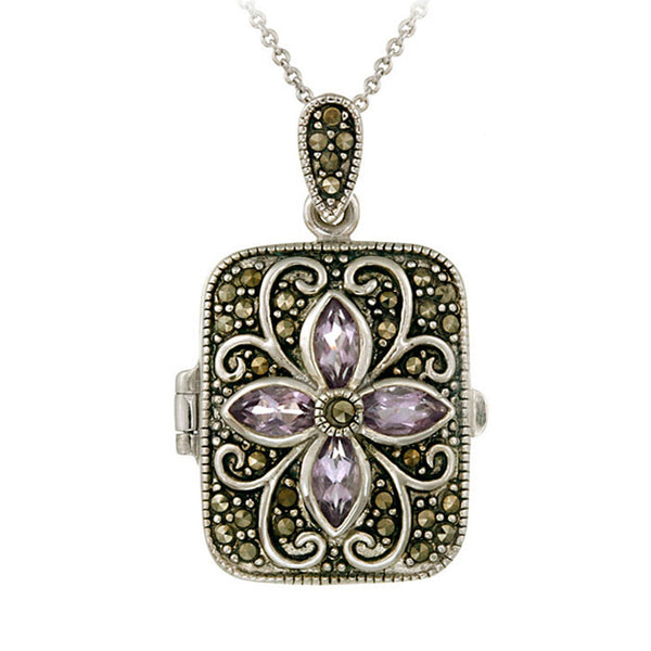 Marcasite & Gemstone Accented Sterling Silver Locket Necklace - Amethyst