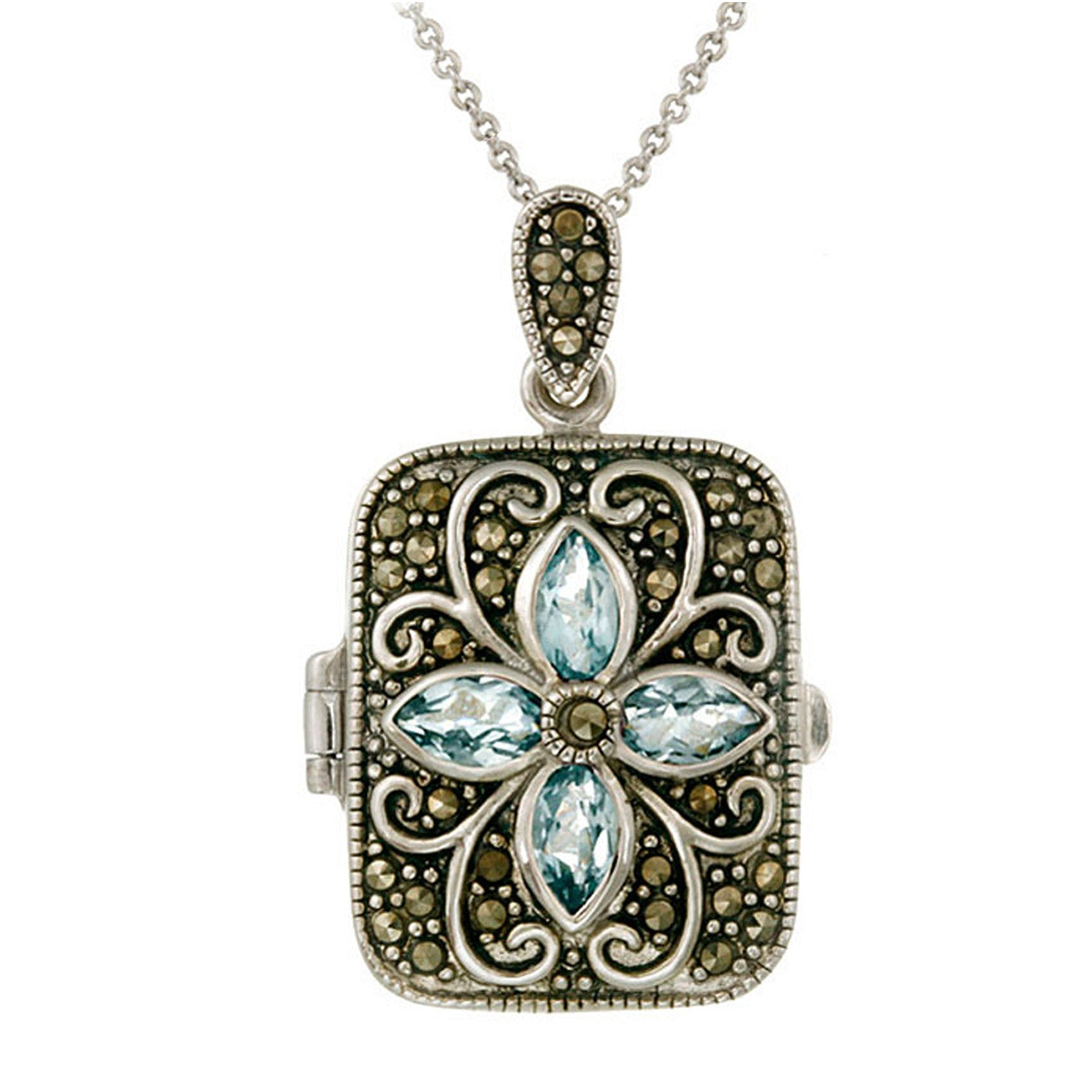 Marcasite & Gemstone Accented Sterling Silver Locket Necklace - Blue Topaz