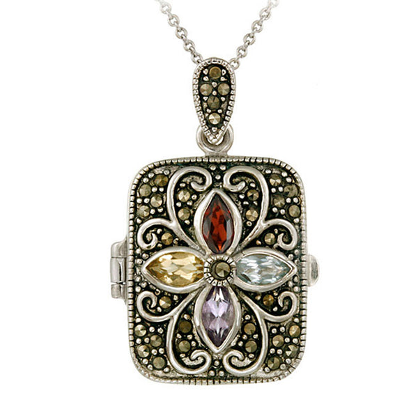 Marcasite & Gemstone Accented Sterling Silver Locket Necklace - Garnet