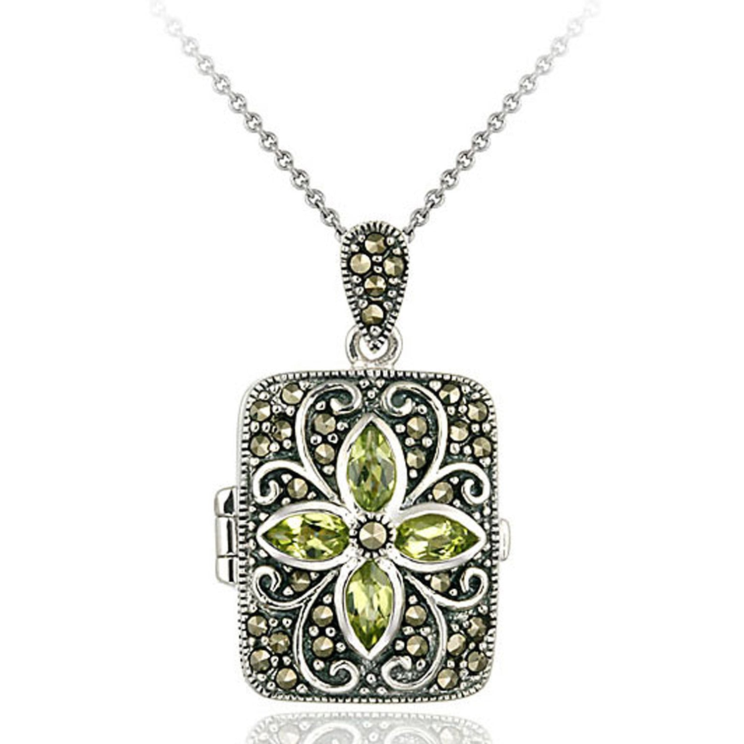 Marcasite & Gemstone Accented Sterling Silver Locket Necklace - Peridot