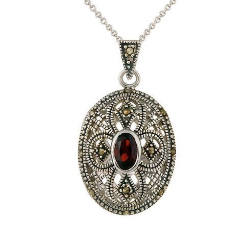 Marcasite & Garnet Sterling Silver Oval Locket Necklace