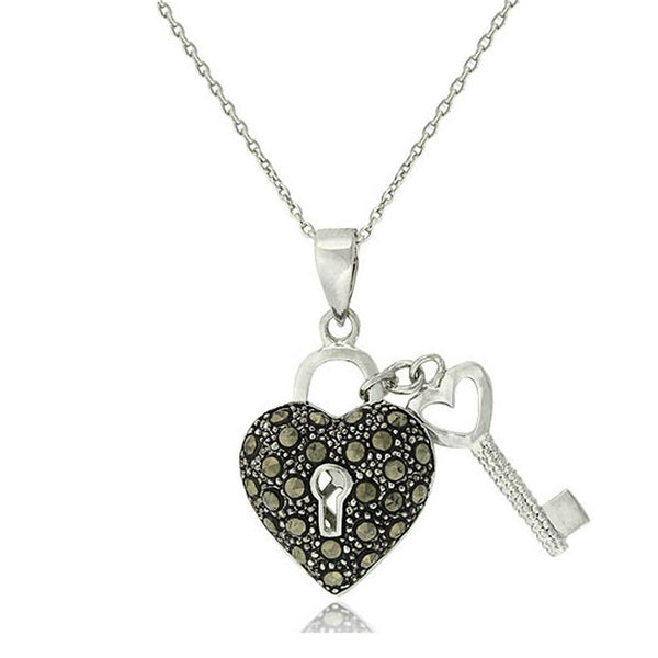 Marcasite Sterling Silver Heart & Key Necklace