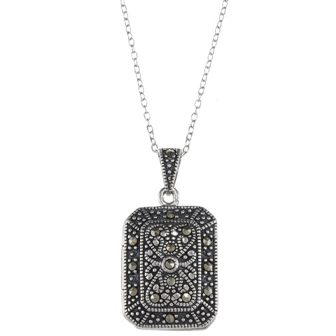 Sterling Silver Marcasite Locket Necklace With Intricate Design