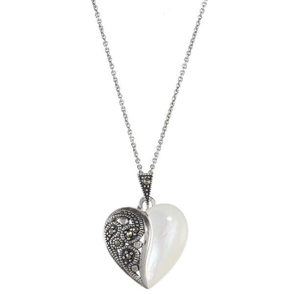 Mother of Pearl Marcasite Sterling Silver Pendant