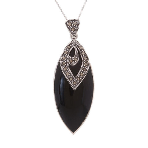 Marcasite & Onyx Pendant in Sterling Silver