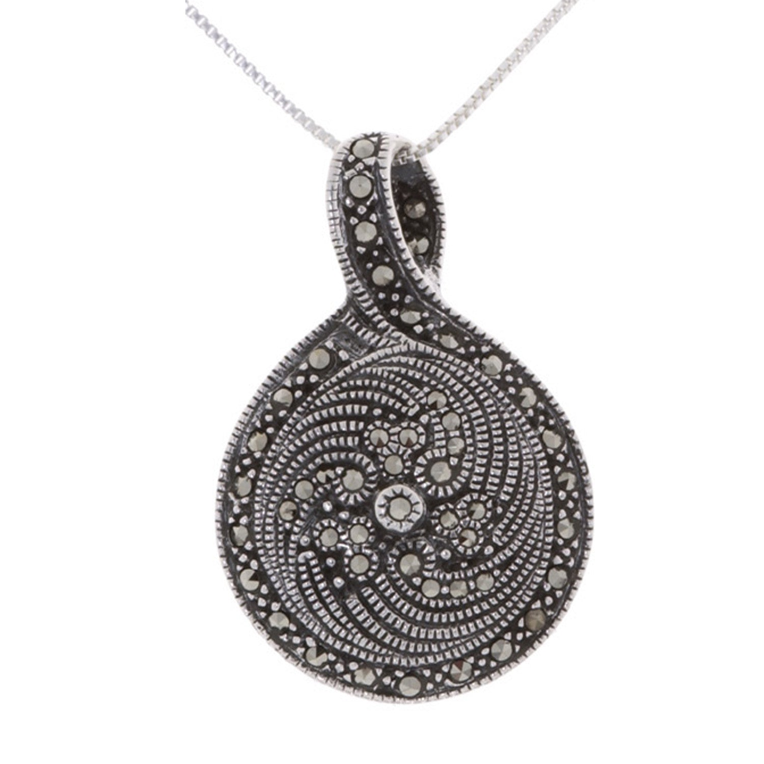 Marcasite & Onyx Oval Pendant in Sterling Silver