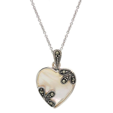 Mother of Pearl Sterling Silver Heart Pendant