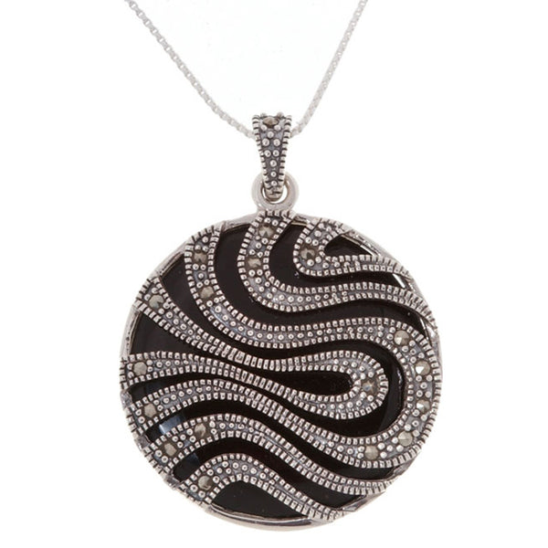 Marcasite & Onyx Stone Sterling Silver Circle Pendant