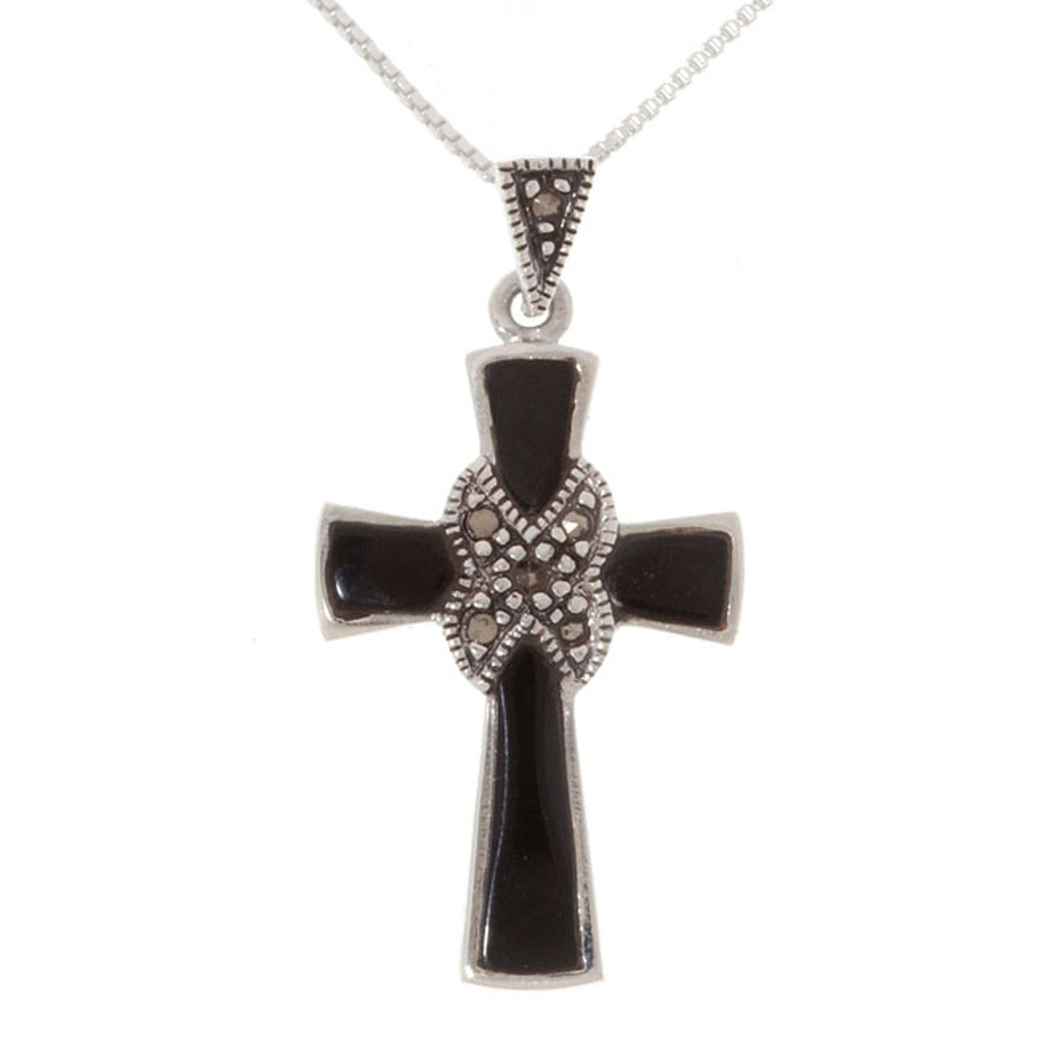Marcasite & Onyx Stone Sterling Silver Cross Pendant