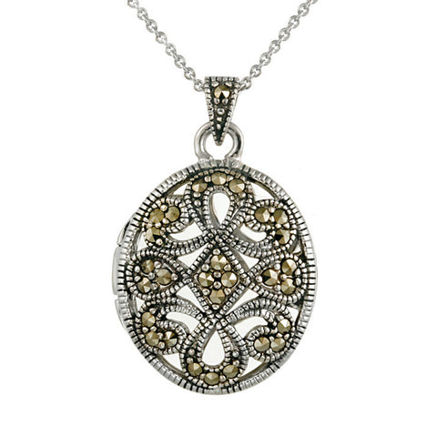 Marcasite Oval Locket Necklace With Filigree Design