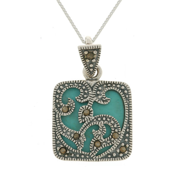 Marcasite Sterling Silver Square Pendant - Turquoise