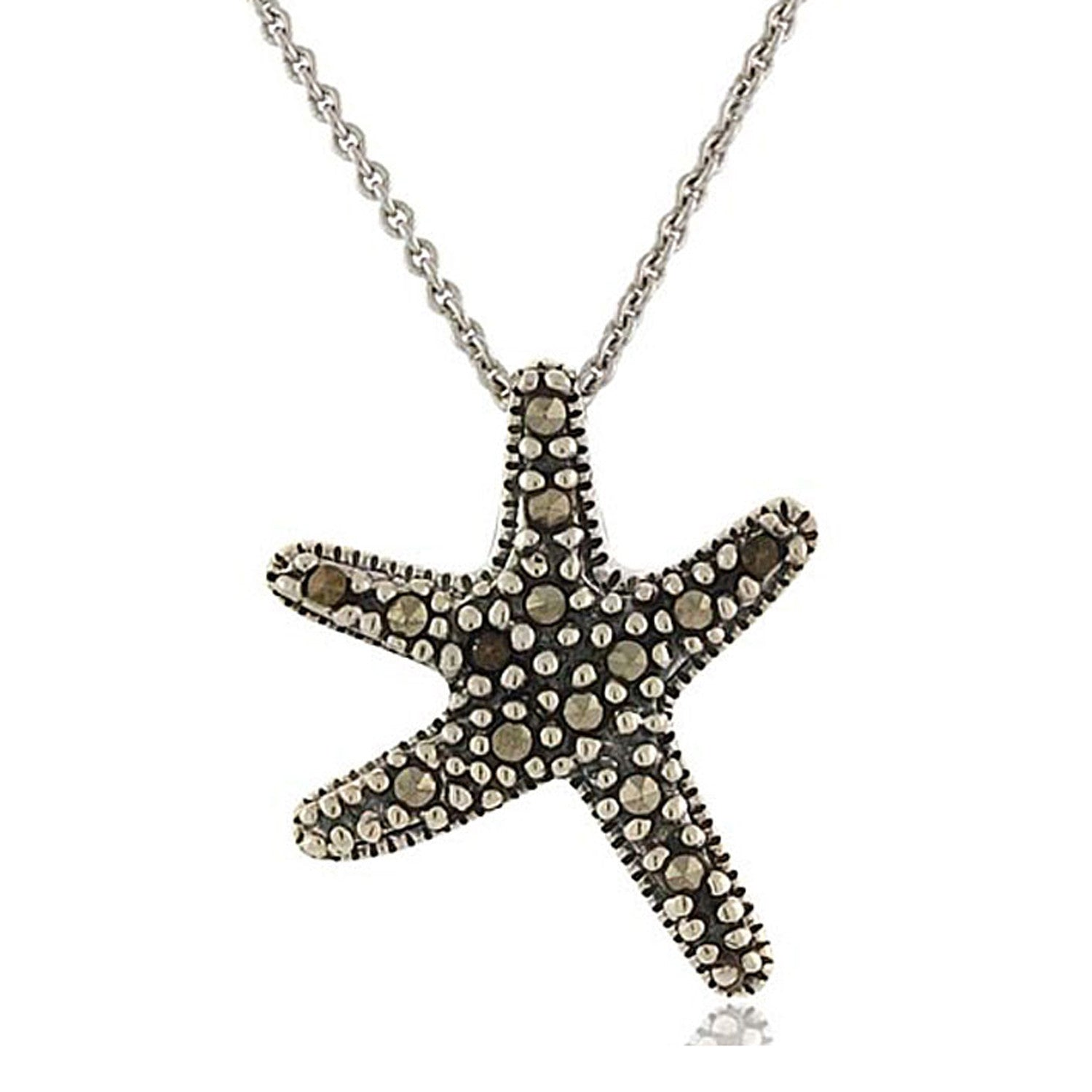 Marcasite Accented Sterling Silver Starfish Necklace