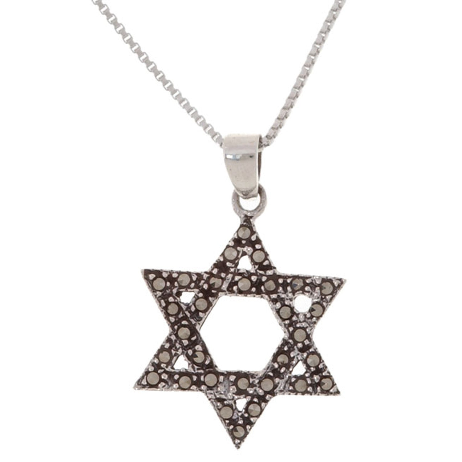 Sterling Silver Marcasite Star of David Pendant