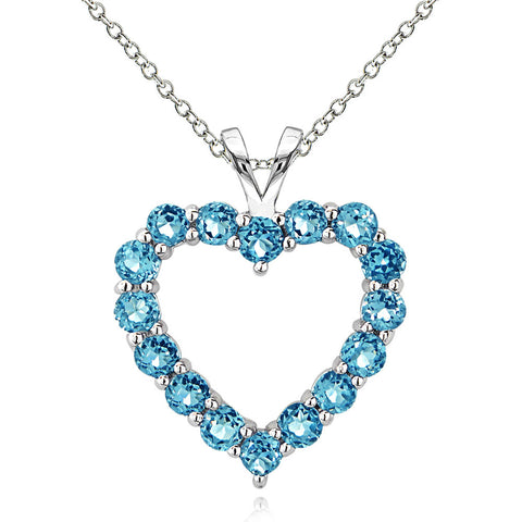 Open Heart Birthstone Necklace in Sterling Silver - March Aquamarine