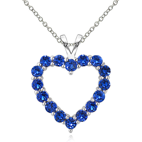 Open Heart Birthstone Necklace in Sterling Silver - September Created Blue