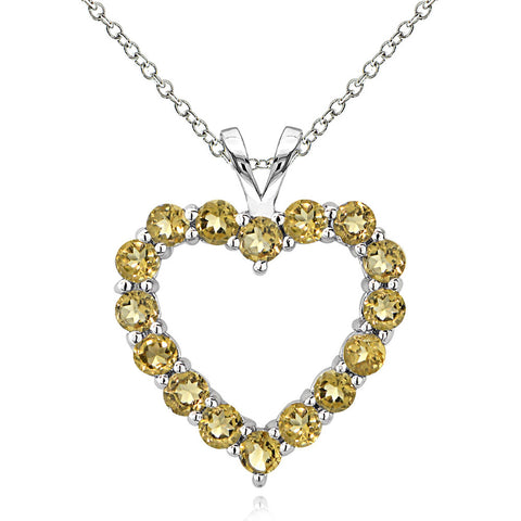 Open Heart Birthstone Necklace in Sterling Silver - November Citrine