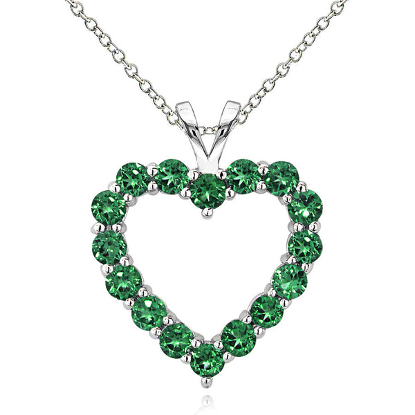 Open Heart Birthstone Necklace in Sterling Silver - May Created Emerald